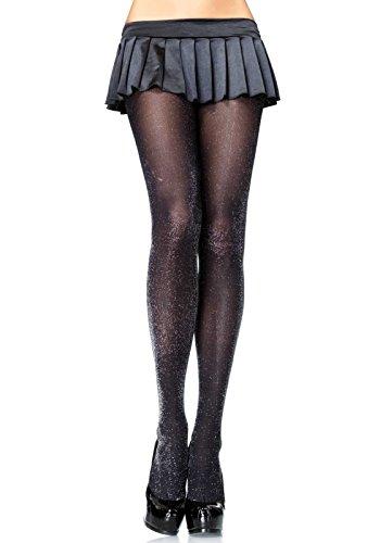 Leg Avenue 7120 - Glitzer Lurex Strumpfhosen, Einheitsgröße, schwarz/silber, Damen Karneval Kostüm Fasching