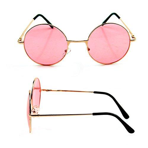 Frauen Colorful Objektiv Sonnenbrille Eyewear Kunststoff Rahmen Brille Retro Runde Gläser rot