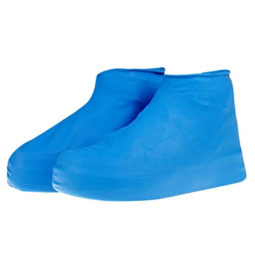 Rrimin Waterproff Reusable Rain Coat Shoe Boots Cover Raincoat Set (L, Blue)