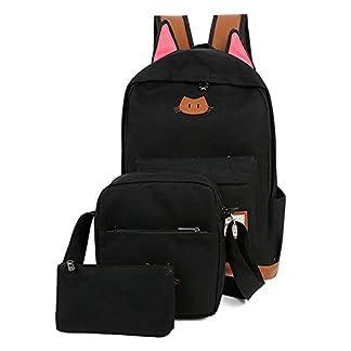 Moolecole Súper oídos de gato Escuela de bolsa mochila con el bolso y el lápiz de la caja del hombro Pounch, 3pcs