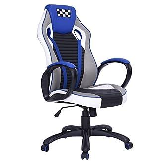 fanilife Racing silla Gaming estilo giratorio de piel sintética de espalda alta silla de oficina ajustable ordenador tarea silla