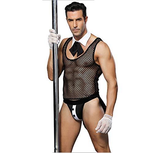LCTS Herren Erotische Dessous Sexy Perspektive Uniform Versuchung Rollenspiel Kostüm Nachtclub Bar Kellner Männliches Dienstmädchen Kostüm Sexy Uniform (Männliche Dienstmädchen Kostüm)
