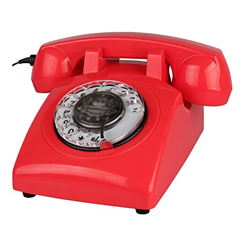 Telefon ABS retro telefon Home Fashion Festnetz Business Office Hotel Festnetz 13 * 23 * 13 cm (4 farben optional) (Farbe : Rot)