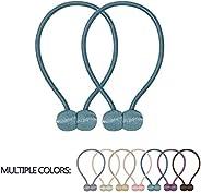 VEERUN Magnetic Curtain Tiebacks 2 Pack Convenient Drape Holdbacks 16 Inch Modern Weave Rope Tie Backs European Style Window