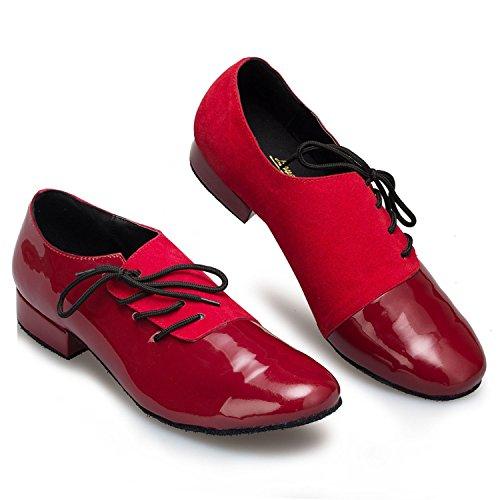 Minitoo Men's Design danse de chaussures en cuir à bout rond Rouge