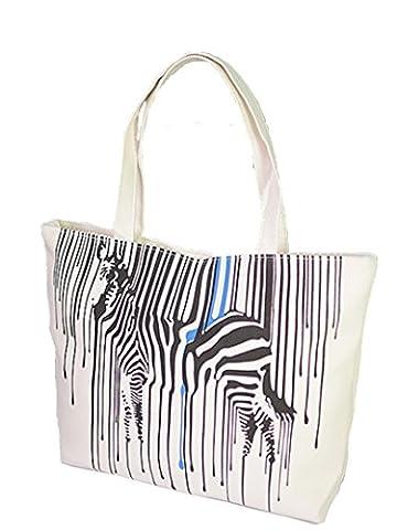 Oath_song Women's Canvas Zebra Stripe Print Tote Shoulder Bag White