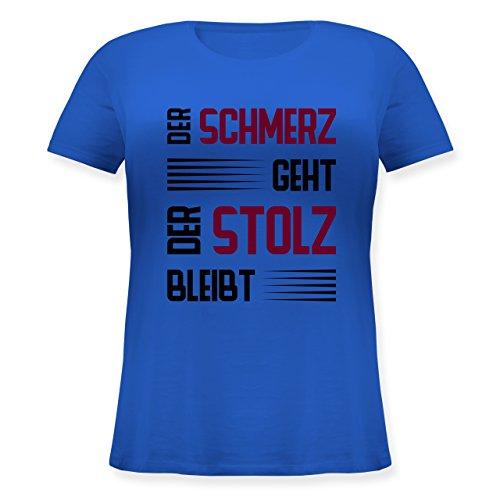 Laufsport - Der Schmerz geht doch der Stolz bleibt - Lockeres Damen-Shirt in großen Größen mit Rundhalsausschnitt Blau