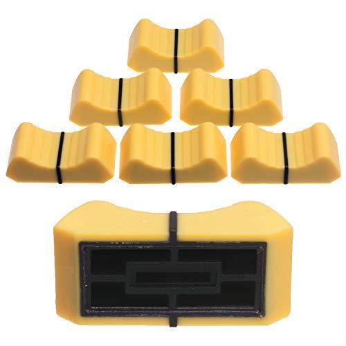 6 x Prof. Faderknopf GELB Aufnahme 1mm Lever 8 - Schiebeknopf Fadercaps Faderkappen Caps für Schiebepotentiometer Schiebepoti Potentiometer Poti