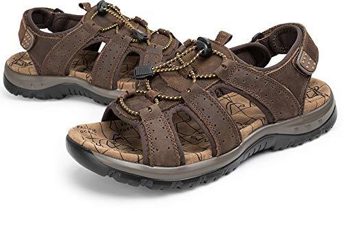 YYAMO Herren Sandalen Sommer Schuhe Strand Herren Kausal Echtes Leder Mode Outdoor Wasserdicht Reisen, Gehen, Dunkelbraune Sandalen, 38,24cm -