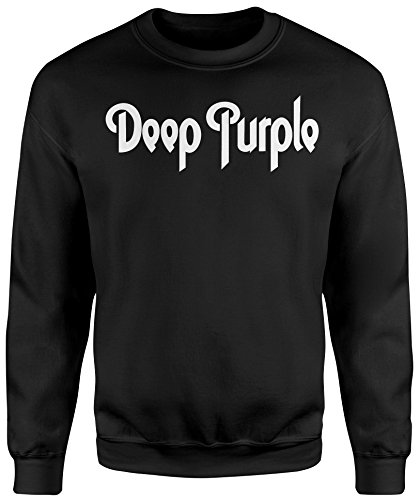 Felpa Unisex Deep Purple White Text - Felpa Set in girocollo LaMAGLIERIA Nero