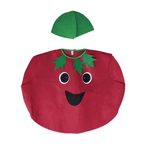 Amosfun Kinder Obst Gemüse Kostüm Kit Cute Tomato Performance Kostüme Kleidung und Hut Stoff Outfit Dress Up Zubehör (rot)