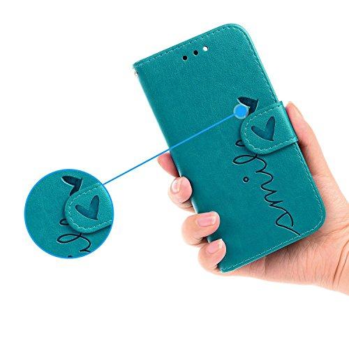 iPhone 8 Plus Coque,iPhone 7 Plus Luxury Embossed Hearts en PU Cuir 2 x Pièce Strass Bling Cover, Sunroyal Luxe Phone Housse Purse 2 en 1 Wallet Etui Pochette Case Cartes Slots Absorption de Choc Bump PU Bleu