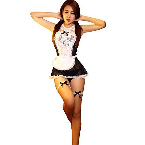 en Kostüm Cosplay Dienstmädchen Kostüm Kleid Dessous Babydoll Nachtwäsche (Schwarz) (Cosplay Halloween-kostüm)