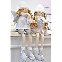 Valery Madelyn 18cm Stoff Weihnachten Deko Figur Funkelnder Winter Thema Wichtelfiguren mit Wintermütze Schal und Flügel - Rosa Grau