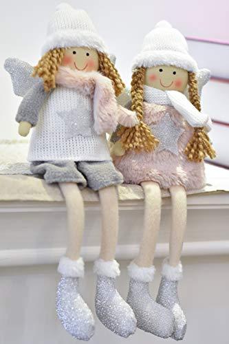 Valery madelyn decorazioni natalizie grigio rosa bianco inverno bambino ragazza feci bordi deco figurina 2pezzi tessuti con cappello invernale sciarpa e ali 18cm elfi figura decorativa natalizie