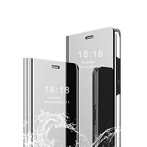 DAYNEW Für Huawei Honor View 20 Hülle Handytasche,Standing Etui Slim Fit Mirror Make-Up Clear View Booklet Case Cover Etui für Huawei Honor View 20-Silber