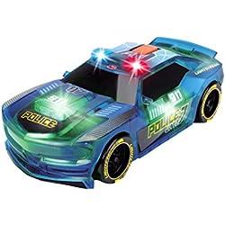 Dickie Toys 203763001 - Lightstreak Police, Rennauto mit Friktionsantrieb, mit Licht- und Soundfunktion, Polizeiwagen, 20cm