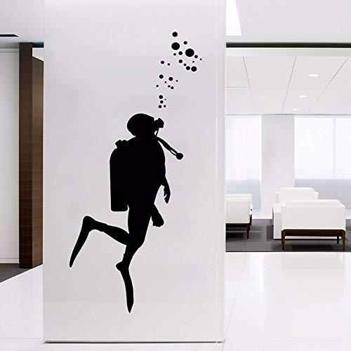 Dwqlx Fire Scuba Diver Wandkunst Aufkleber Für Büro Dekoration, Feuerlöscher Verkleidung Vinyl Wandaufkleber Büro Wandbild Kunst Wanddekor 103 * 42 Cm