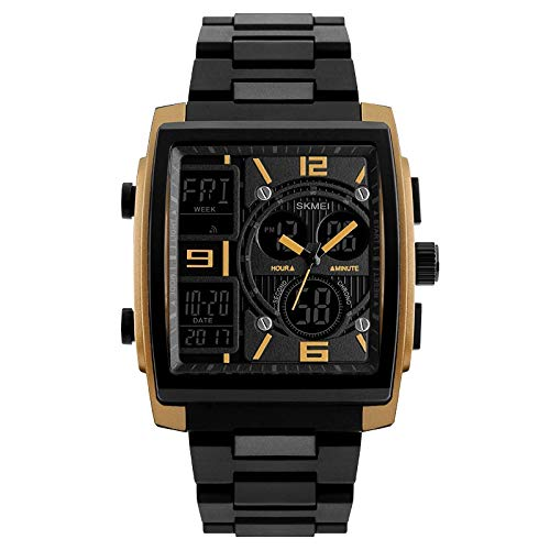 Men's Digital Analog Sport Wristwatch ABS Case Triple Time Display Calendar Alarm 50M Waterproof (Free Gift with Every Purchase)