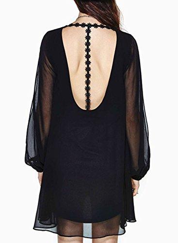 ACHICGIRL Women's Mesh Contrast Cut Back Open Sleeve Dress Black