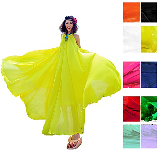 41NERRq5MwL - NO.1 BEAUTY# Coolsummer Women's Summer Bohemia Chiffon Big Skirt Sexy Sleeveless Loose Beach vacation dresses (One size, Yellow) Reviews  Best Buy price