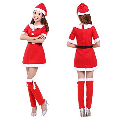 Frauen Kleid,DOLDOA O-Ausschnitt Santa Claus High Waist Minikleid mit Gürtel (Rot, EU: 40) (Bandeau Top Dot Yellow)