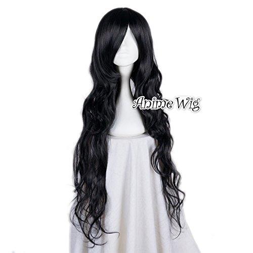 Lolita-85CM lange lockige schwarze Art und Weise Damen-Mädchen-Grund (Mädchen Für Kostüme Die Besten Schwarz Halloween)