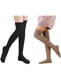 Yuccer 2 Pares Calcetines Largos para Mujeres Algodón Calcetines Hasta la Rodilla