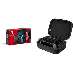 Nintendo Switch Konsole – Neon-Rot/Neon-Blau (2019 Edition) + AmazonBasics – Reise- und Aufbewahrungsbox für die Nintendo Switch, Schwarz