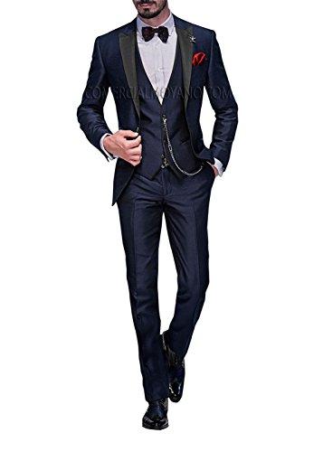 Anzug 5-Teilig Anzug Sakko,Weste,Anzug Hose,Krawatte,Tasche Platz 002,Blau XL (Blau Tabelle)