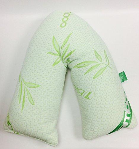 Bedway - cuscino ortopedico, a v, in memory foam, con federa in bambù traspirante, per problemi ortopedici, gravidanza, maternità, allattamento