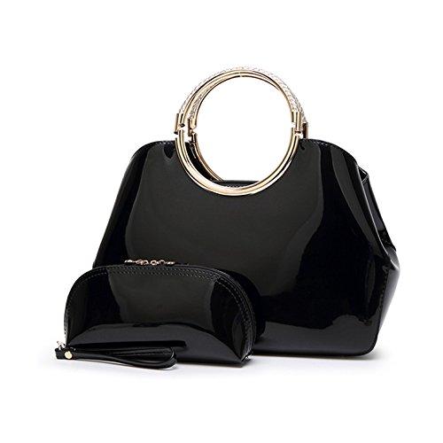 Vezela® PU Leather Casual Mini Satchel Shell Bag - Black Color Designer Hand Bags for Women / Girls - Set of 2 (Handbag & Clutch Purse)