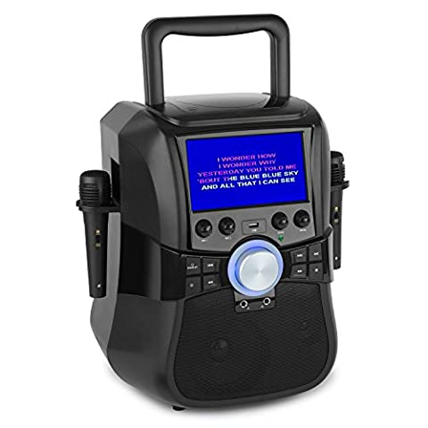 Auna Stage Hero Mobile Karaoke Player System CD DVD Player USB Port Bluetooth Connectivity FM Radio AUX Input Li-Ion Battery Included Carrying Handle (Built-In 7