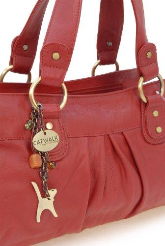 """Lederhandtasche """"Bella"""" von Catwalk Collection - GRÖßE: B: 33-38 H: 22 T: 10 cm Rot"""