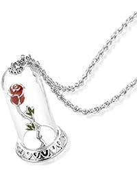 Disney Couture oro blanco Bella y la bestia Enchanted Rose en collar de cristal Bell Jar