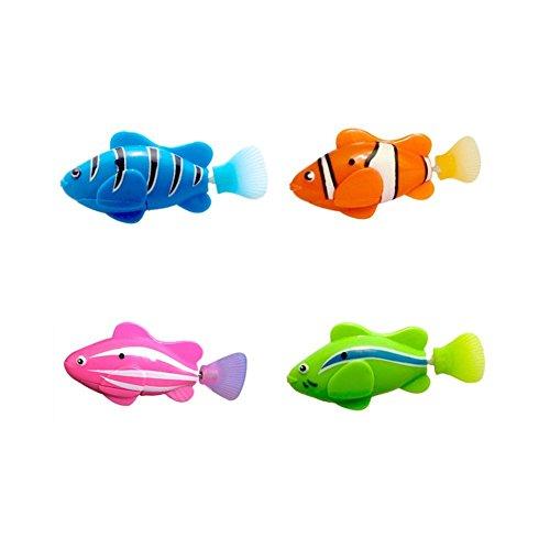 AimdonR Schwimmroboter Fisch, 4 Stück batteriebetriebene elektrische Schwimmen,Aktivierter Clownfisch,Roboterfische im Wasser-magischen elektronischen Spielzeug,Kinder Geschenk Sicherheitsmaterial
