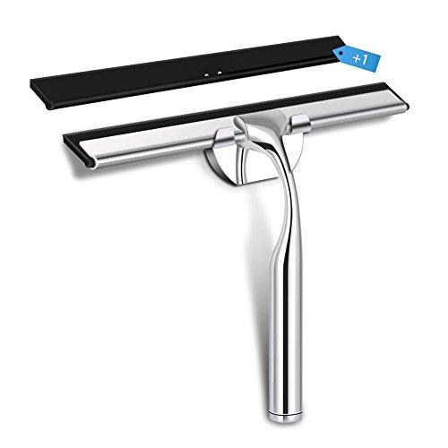 GHB Limpiacristales Limpiador para Ducha Ventana Espejo Cristal Azulejos en Acero Inoxidable con una Goma de Repuesto
