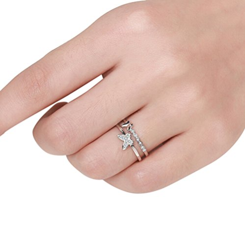 Hosaire Elegant Butterfly Diamond Ring Crystal Open Rings Wedding Jewelry For Women-It Can Be adjustable