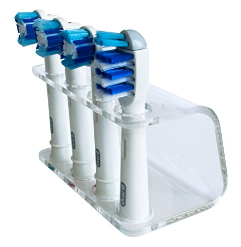 Seemii - Support tête Brosse à Dents électrique - Plastique, pour 2 ou 4 têtes, Transparent (4 têtes)