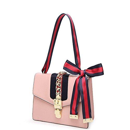 Damen Umhängetasche Aus Echtem Leder Verschluss Schulter Messenger Bag Ribbon Stripe Satin Handtasche,Pink-Large (Stripe Tote Handtasche Pink)