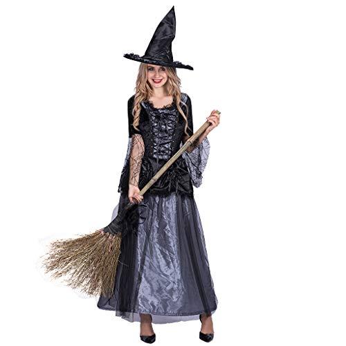 Kostüm Hexe Schrank - EraSpooky Damen Hexenkostüm Zauberin Hexe Kostüm Faschingskostüme Cosplay Halloween Party Karneval Fastnacht Kleid für Erwachsene