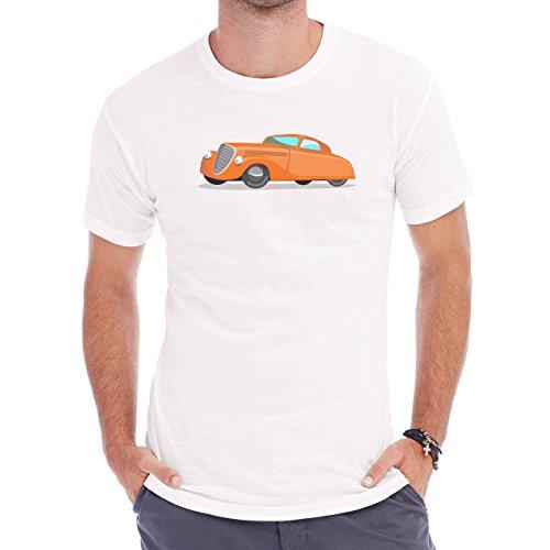 Car Vehicle Four Wheels Auto Orange Herren T-Shirt Weiß