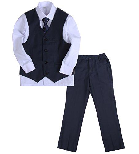 LOTMART Boys 5 Pcs Formal Suit Jacket Waistcoat Tie Shirt Trousers Wedding Party