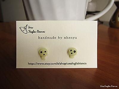 Boucles d'oreilles kodama totoro Miyazaki bijoux fait main en pâte polymère fimo