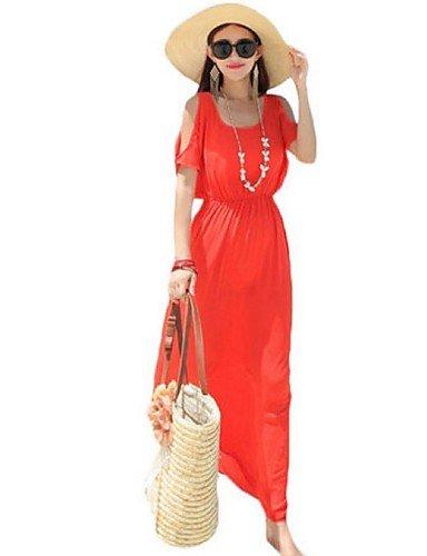 PU&PU Robe Aux femmes Gaine Street Chic,Couleur Pleine Col Arrondi Maxi Polyester ROYALBLUE-L