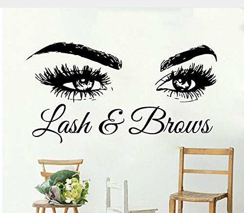Meaosy Lash & Brows Große Augen Zitieren Wandtattoos Mode Kreative Vinyl Wimpern Schönheitssalon Wandaufkleber Augenbrauen Shop Decor106X56Cm