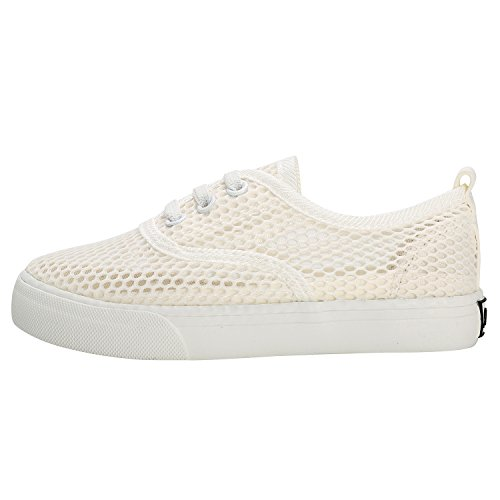 Alexis Leroy Unisex-Kinder Jungen Sommer Mesh Schuhe Low Top Sneakers Weiß