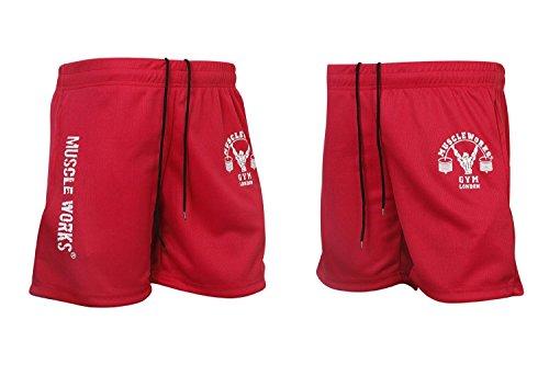 Para hombre músculo funciona gimnasio Fitness Airtex de malla pantalones cortos entrenamiento MMA boxeo pantalones cortos rojo, rojo