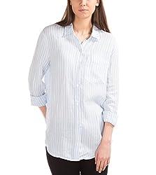 GAP Womens Linen Oversize Boyfriend Shirt (52800725606_Blue White Stripe_Large)