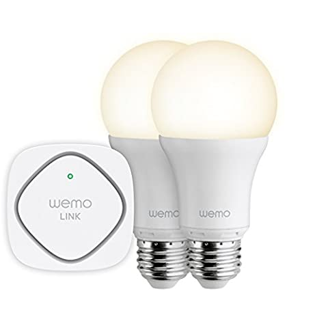 Belkin WeMo Smart Light Screw Fit E27 LED Light Bulb Starter Kit, Control your Lights from Anywhere over Wi-Fi, 3G and 4G (2 x Bulb, 1 x WeMo Link)